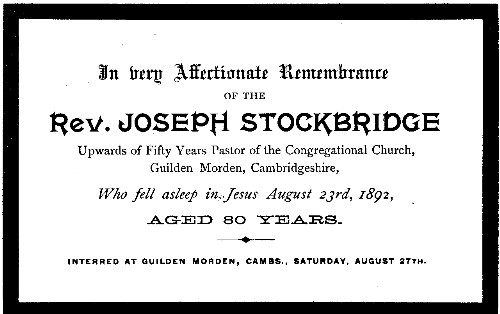 Rev. Stockbridge memorial